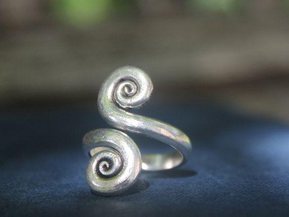 Boho jewellery Handmade Double Spiral Tribal by SkyesPurpleCloud