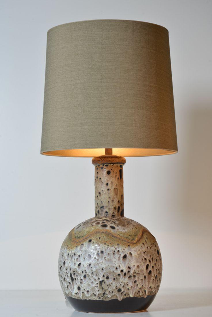 Glazed Nava Pottery Vase Lamp // West-Germany // 1940s - Wall - Greedfineart.com