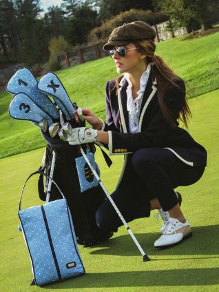 Need new stylish #golf accessories? Check out the tee time shoe bag, golf head covers, and tee bag from Ame & Lulu. Buy a matching set! You DESERVE it.