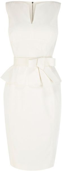 Karen Millen Signature White Cotton Peplum Dress www.finditforweddings.com