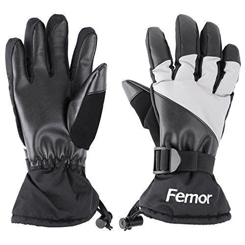 FEMOR Gants sport pour Extérieur Gant Ski Gant d'hiver imperméable pour Homme Femme Garçon Fille Sport Coupe-vent-Noir Nylon et PU(XL/L):…