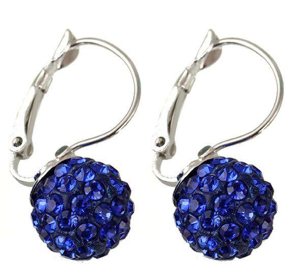 Klaphaak oorbellen met blauwe shamballa
