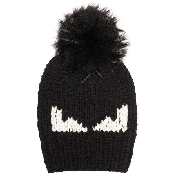 Fendi Men Monster Eyes Wool Hat W/ Murmanky Fur (€555) ❤ liked on Polyvore featuring men's fashion, men's accessories, men's hats, black, mens fur hats, mens pom pom hat, mens wool hats and mens hats