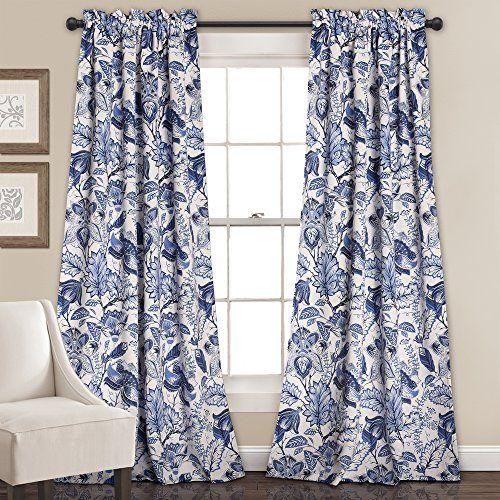 Lush Decor Cynthia Jacobean Room Darkening Window Curtain Set, X Blue