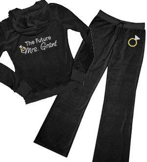 "Personalized ""The Future Mrs."" Rhinestone Bride Velour Jumpsuit"