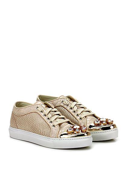 STOKTON - Sneakers - Donna - Sneaker in pelle stampa rettile effetto laminato con strass su puntale e suola in gomma. Tacco 25. - CIPRIA\GOLD