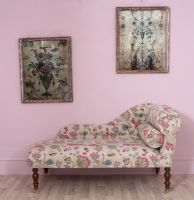 Jacobean Style Floral Antique Chaise / Antique Floral Day Bed