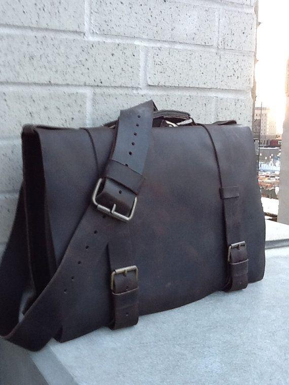 Water besace en cuir Street cuir sac - cartable cuir - hommes - cuir cousu à la main