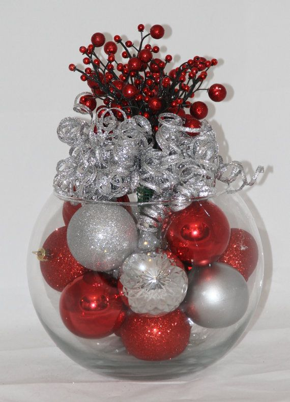 Christmas centerpiece red and silver holiday decoration