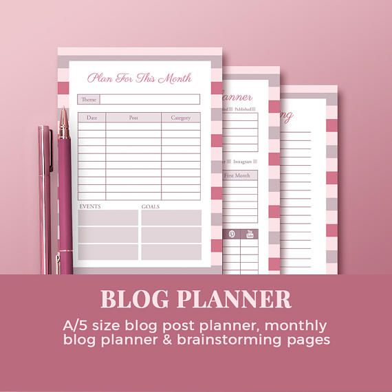 Monthly Blog Planner Set with Blog Post Planner &