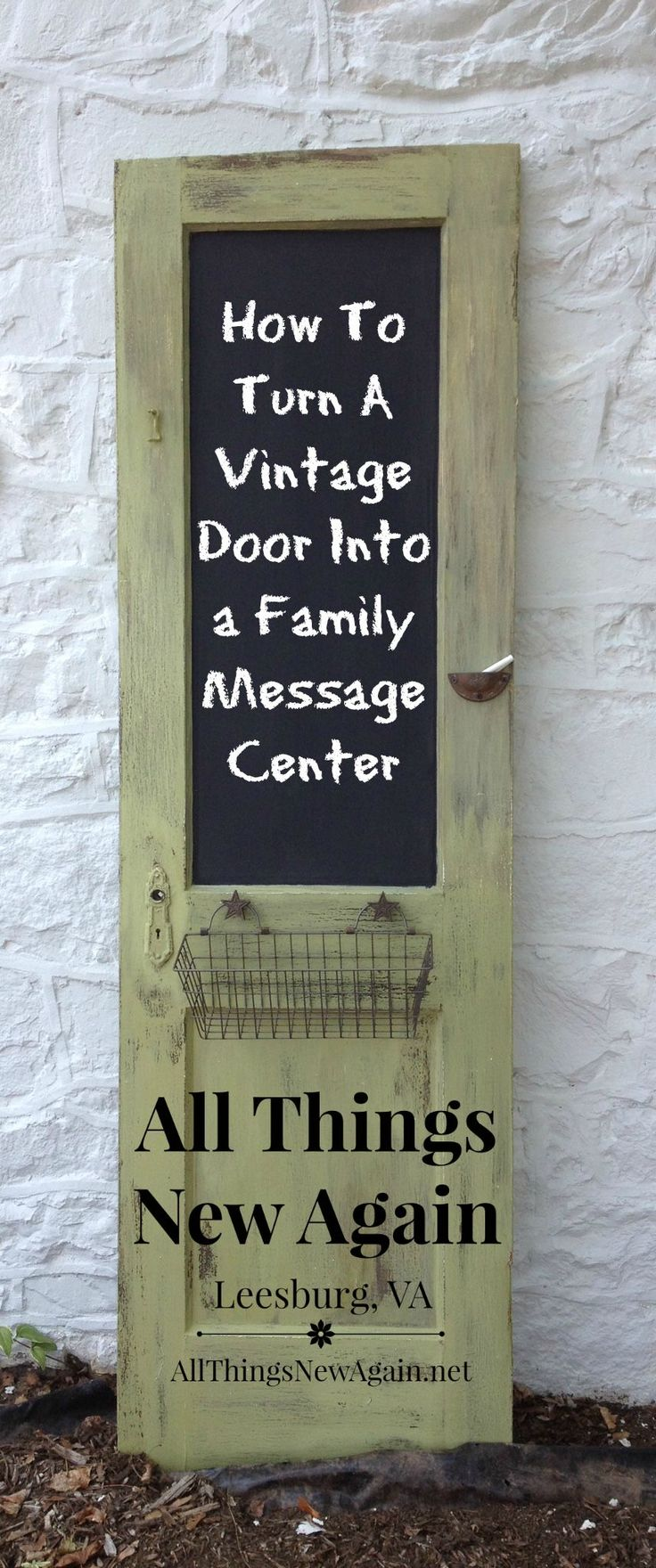 How To Turn a Vintage Door into a Family Message Center ~ www.AllThingsNewAgain.net