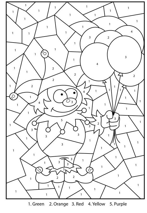 Free Printable Jester Colour By Numbers Activity For Kids: