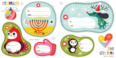 freebie: christmas gift tags printables from Helen Dardik http://orangeyoulucky.blogspot.com/2011/12/2011-holiday-gift-tags.html