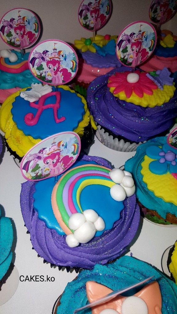 """My Little pony"" cuppies that I made for a princess for her birthday. Click link to my business page for more of my work."