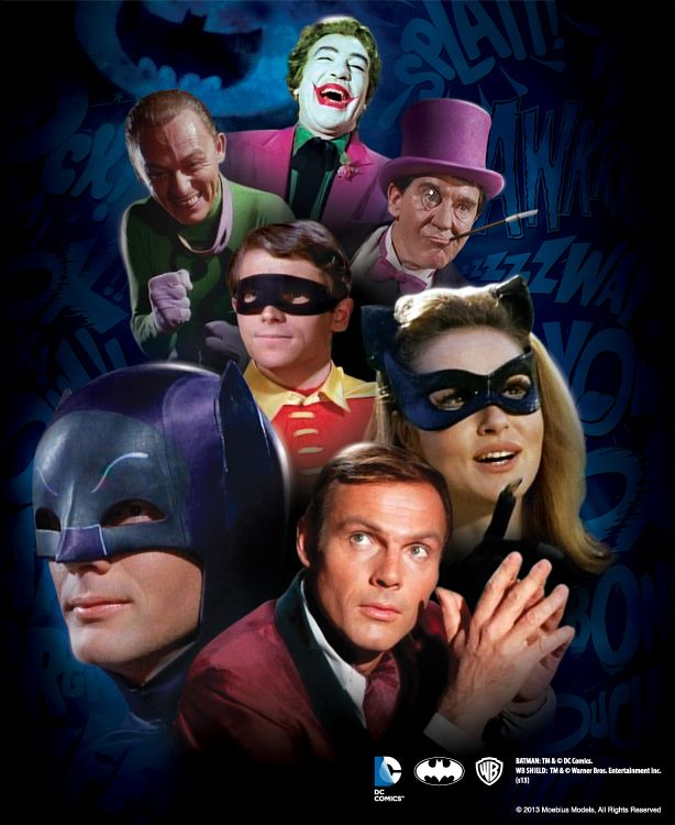 """GOTHAM CITY'S HUMBLEST HEROES AND VILEST VILLAINS ARE COMING TO A HOBBY SHOP NEAR YOU.  At long last... Moebius Models proudly announces model kits based on the classic BATMAN™ TV series!  The BATMAN Ensemble Kit Series features the debut of BATMAN, ROBIN and the most famous members of the Dynamic Duo's Rouges Gallery in styrene kit form"""