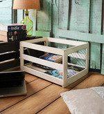 Buy Fabuliv Mango Wood & Iron Distress White Crate Basket  Online  - Baskets - Baskets - Pepperfry