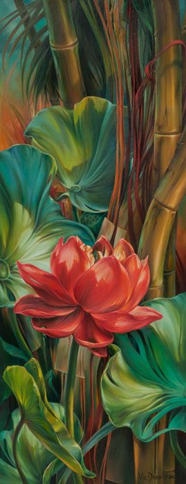 Vie Dunn-Harr | Tropical Awakening | Dunn-Harr considers herself a contemporary realist painter. Her works are organic forms rooted in architectural elements.  The forms are sensuous and portray the force and fragility of nature.