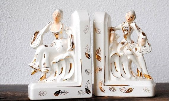 Vintage Bookends, White Gold Gilt Ornate Victorian Era Romantic Couple Musicians, Rare Royal Sealy Figurine Statue Set