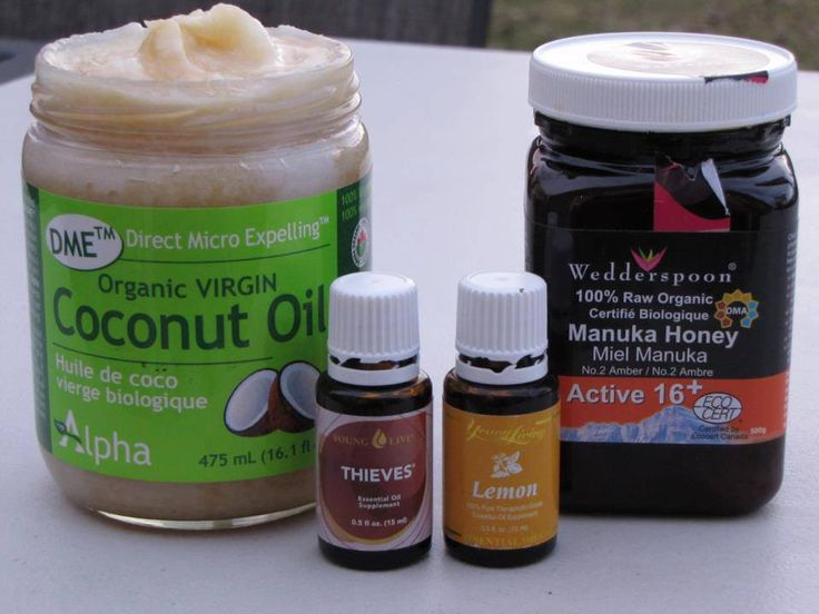 Colds & Sore Throat: 1 1/2 c coconut oil softened, 1/2 c raw honey, 25 drops thieves essential oil and 15 drops lemon essential oil. Eat it by the spoonful as often as desired when feeling cold or flu symptoms. Not recommended for babies under 1 year because of the honey.