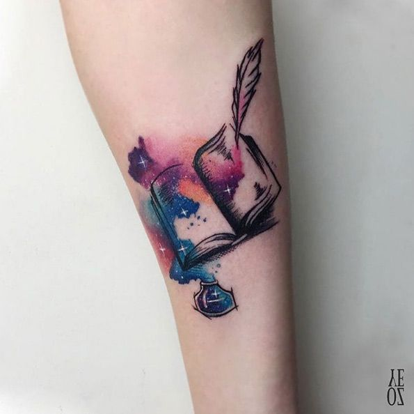 Magical watercolor book tattoo by Yeliz Ozcan