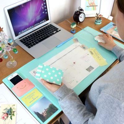 Corea Venta Caliente de Color Caramelo Kawaii Oficina Multifuncional Tapete de Mesa Escritorio Organizador Planificador Semanal Almacenamiento Memo de Aprendizaje Mat Pad