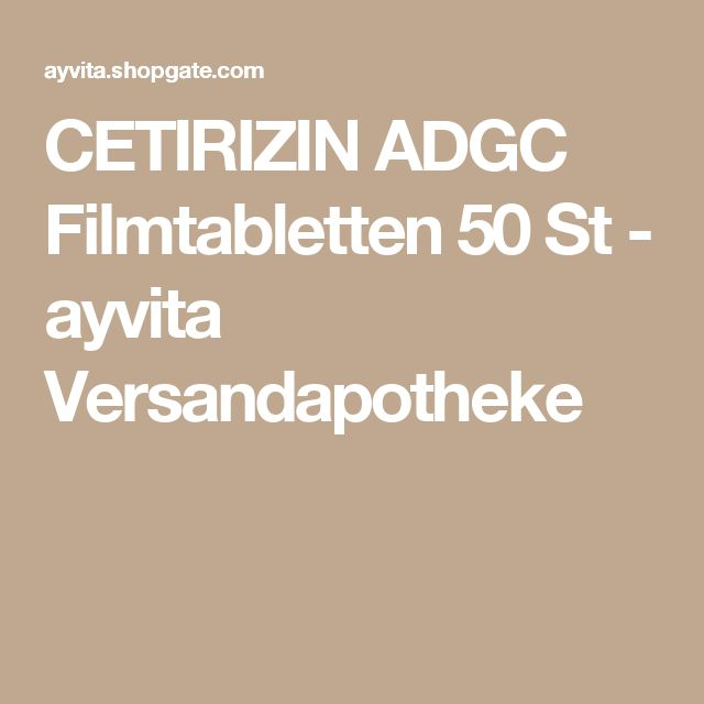 CETIRIZIN ADGC Filmtabletten 50 St - ayvita Versandapotheke