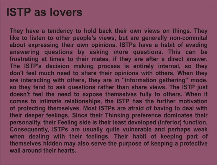 ISTP as lovers Pt. III