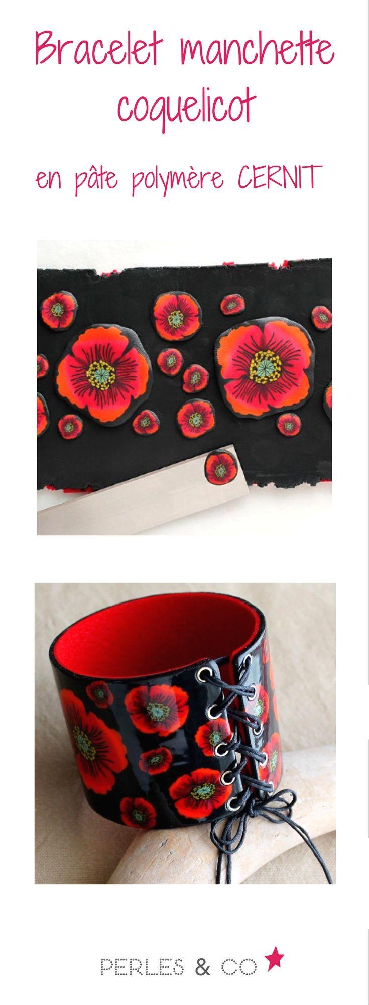 Réalisez ce magnifique bracelet manchette avec une cane coquelicot