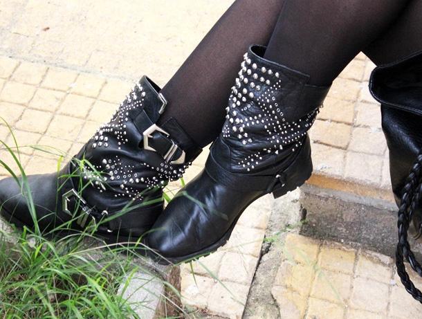zara black studded boots