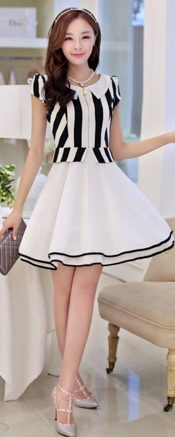 Chiffon A-line Stripe Dress with Layered Skirt YRB0697