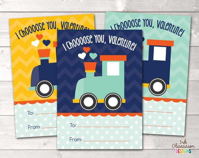 Choo Choo Train Printable Valentines Day Cards – Erin Bradley/Ink Obsession Designs