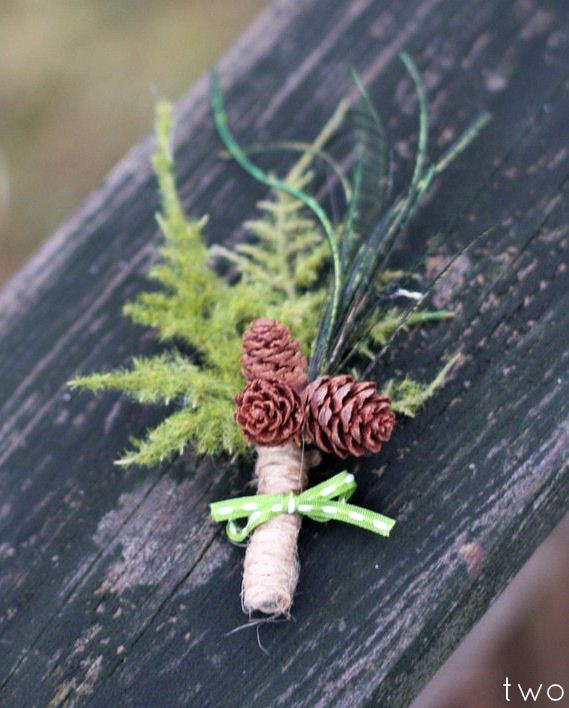 Fall Wedding Ideas - rustic pinecone boutonniere