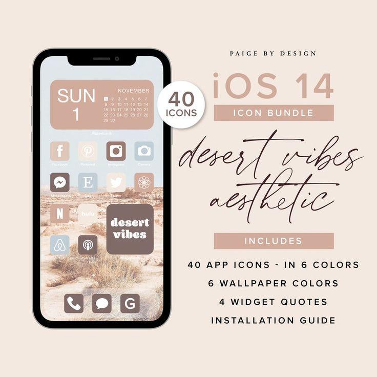 Desert Vibes Aesthetic 250 Elements Iphone Ios 14 App Icons Etsy In 2021 Iphone App Design App Icon Desert Vibes