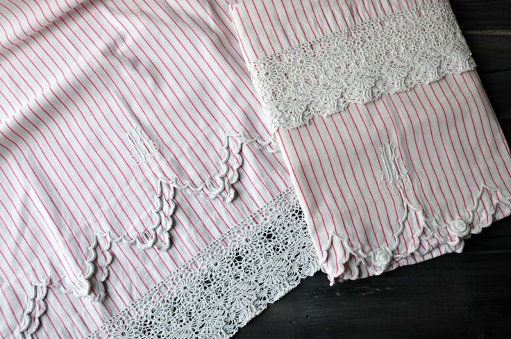 A pair of Antique Pillowcase, Antique Lace Pillowcase, Antique Monogrammed Linen, Farm House Linen, Red and White, Embroidered Pillowcase. by ColoursAndSoul on Etsy