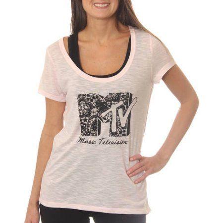 MTV Music Television Women's Slub Scoop Neck Graphic Tee T-Shirt, Size: Medium, Pink