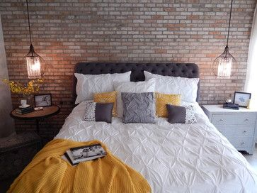 Industrial Chic Bedroom Remodel by VIP Interior Design, featuring Z Gallerie upholstered bed