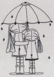Girls in the rain with an umbrella