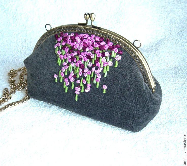 """Купить Сумочка косметичка """"Волшебный сад"""" - серый, сумочка, сумочка ручной…"""