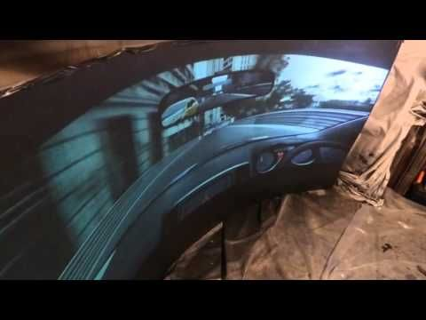 RACING COCKPIT VIEW ON OUR TEST CURVED BLACK PROJECTOR SCREEN TEST