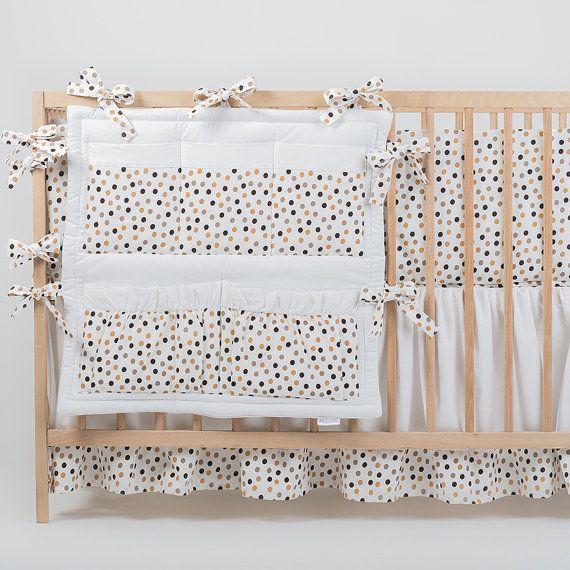 Crib organizer bed pocket organizer Pabbles Moon by CotandCot