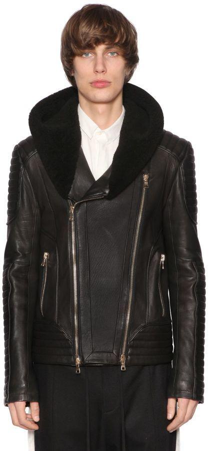 Balmain Hooded Leather Biker Jacket