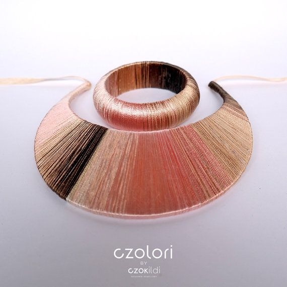 Pink Gold Brown Ombre Yarn Wrapped Statement Choker by Czolori