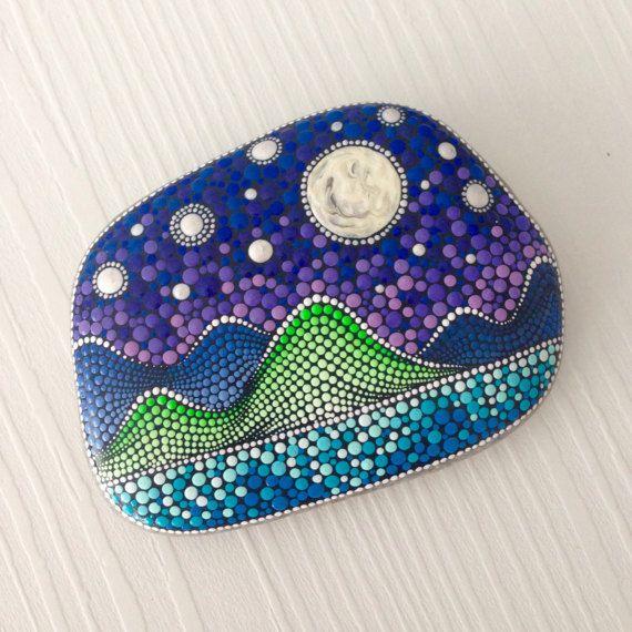 Dot Art Nightsky Painted stone painted rock by CreateAndCherish