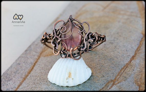 Copper cuff Love at first glance freehand by AnniamAeDesigns, $52.00
