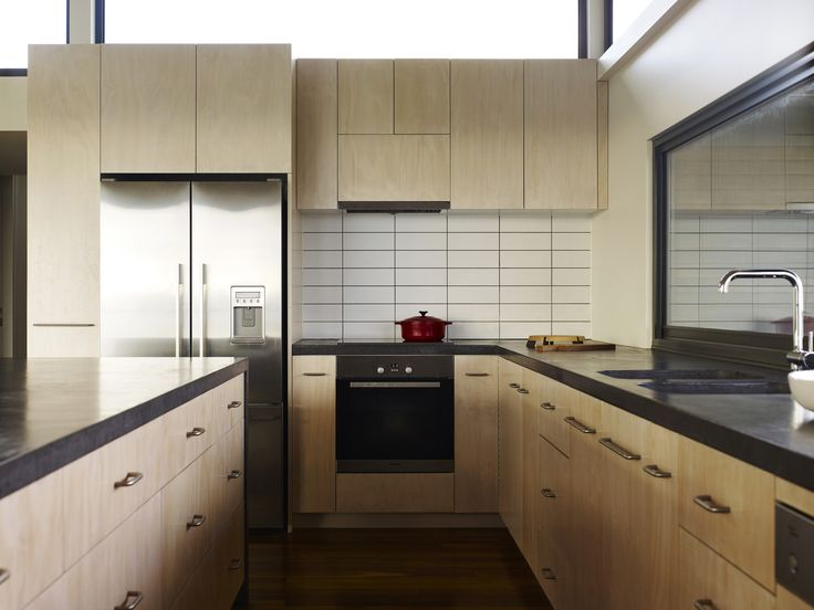 Waterfront Residence Located in the Seashore : Kitchen Design Among Minimalist Interior Used Wooden Material Furniture With Wooden Flooring Also White Ceramic Tile Backsplash Ideas Design