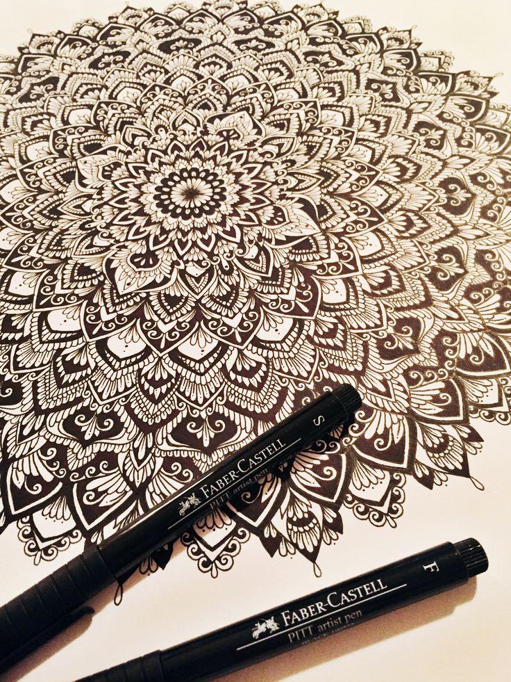 Freehand mandala using my new Faber-Castell PITT artist pens! • samschroederart • Instagram: samschroeds