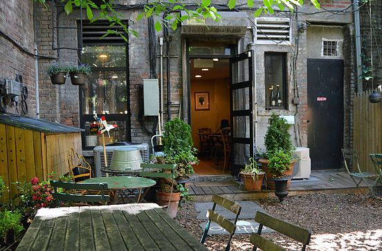 Wine bar Greenwich Village nyc Pocket-size enoteca dispensing Italian small plates in a hip setting outfitted with a garden.