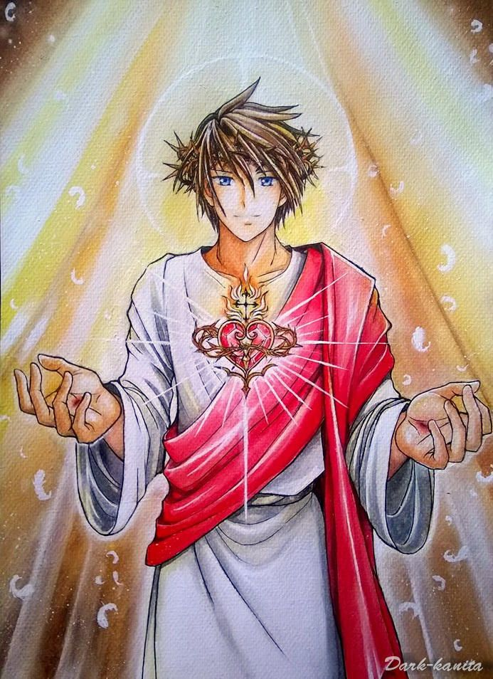 Sacred Heart Of Jesus By Dark Kanita Anjos Cristianismo Virgem