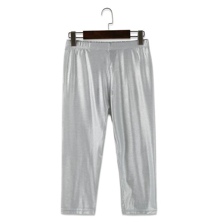 Snowlake New Calf-length Silver Leggings All-match Pants Female 10219