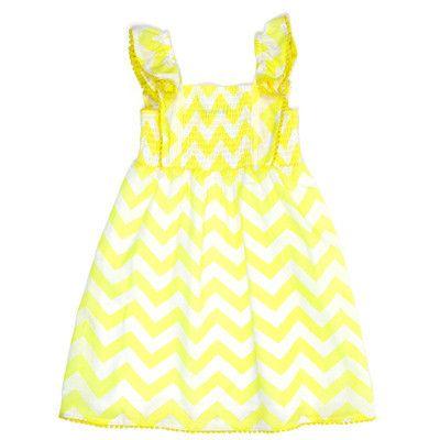 Fred Bare Girls Yellow and White Chevron Dress